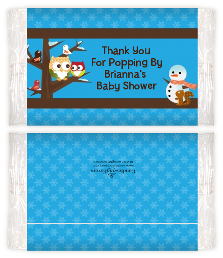 Owl Winter Theme or Christmas Baby Shower Popcorn Wrappers Baby