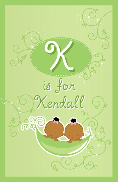 Twins Two Peas in a Pod African American Two Girls - Personalized Baby Shower Nursery Wall Art