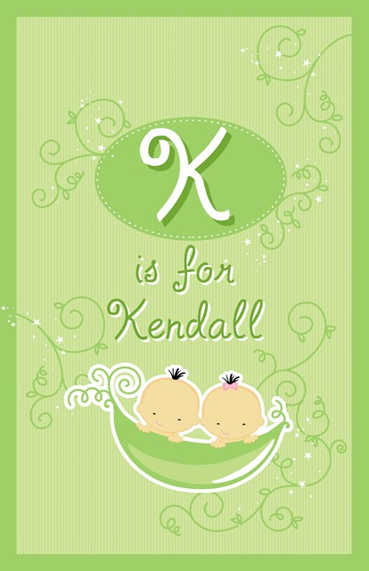 Twins Two Peas in a Pod Asian Boy And Girl - Personalized Baby Shower Nursery Wall Art