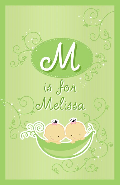 Twins Two Peas in a Pod Asian Two Girls - Personalized Baby Shower Nursery Wall Art