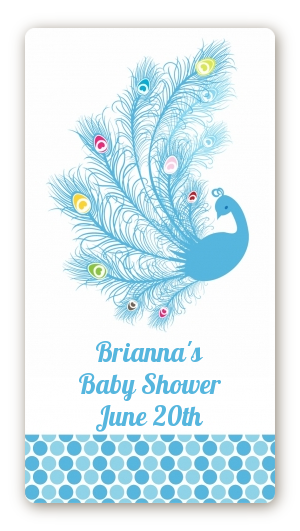 peacock baby shower rectangular sticker labels peacock hand