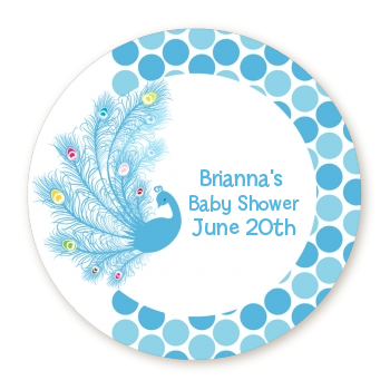 Peacock - Round Personalized Baby Shower Sticker Labels