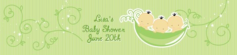 Triplets Three Peas in a Pod Asian - Personalized Baby Shower Banners 2 Girls 1 Boy