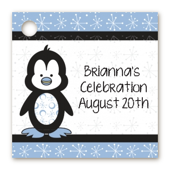 Penguin Blue - Personalized Baby Shower Card Stock Favor Tags