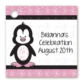 Penguin Pink - Personalized Birthday Party Card Stock Favor Tags