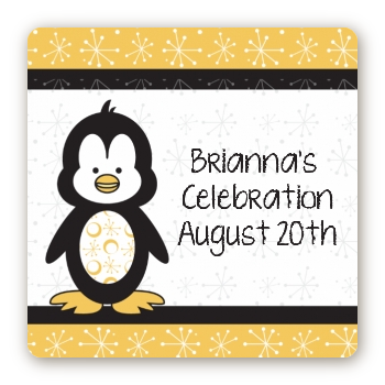 Penguin - Square Personalized Birthday Party Sticker Labels
