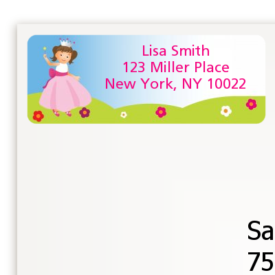 Princess Rolling Hills - Birthday Party Return Address Labels