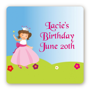 Princess Rolling Hills - Square Personalized Birthday Party Sticker Labels
