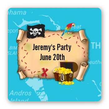 Pirate Treasure Map - Square Personalized Birthday Party Sticker Labels