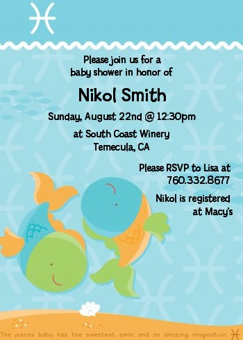 Fish Pisces Horoscope Baby Shower Invitations Candles And Favors