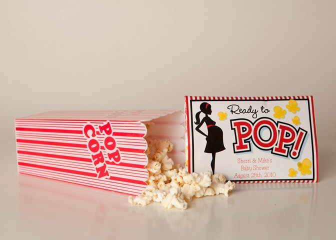... Popcorn Wrappers - Personalized Popcorn Wrapper Baby Shower Favors