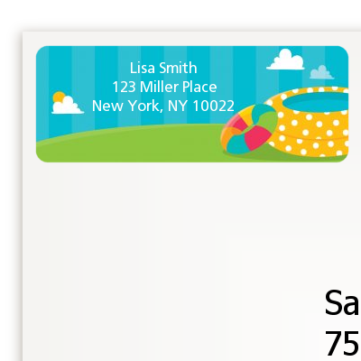 Pool Party - Birthday Party Return Address Labels