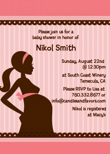 Mommy Silhouette It's a Girl - Baby Shower Invitations