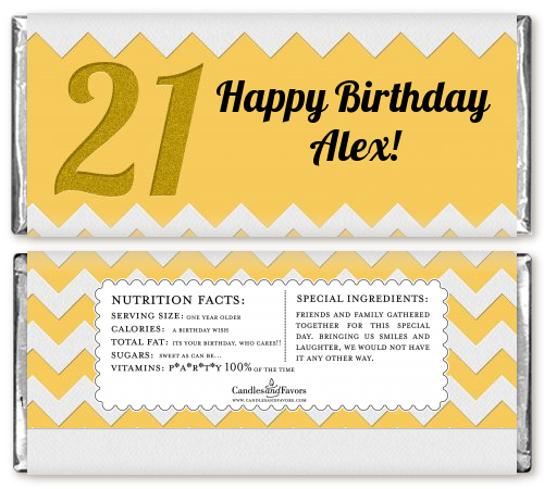 21st Birthday Chevron Pattern - Personalized Birthday Party Candy Bar Wrappers Pink