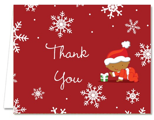 Baby Shower Thank You Cards  Christmas Baby Snowflakes African
