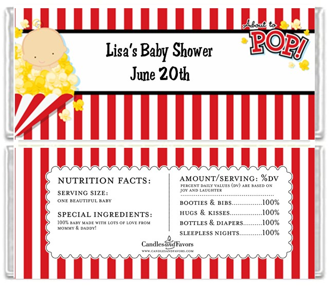 About To Pop Baby Shower Candy Bar Wrappers | Candles & Favors