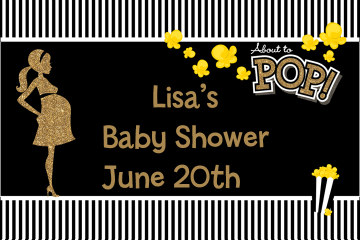 About To Pop Gold Glitter - Personalized Baby Shower Placemats