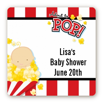 About To Pop - Square Personalized Baby Shower Sticker Labels Caucasian