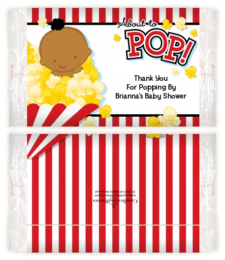 About To Pop - Personalized Popcorn Wrapper Baby Shower Favors Caucasian
