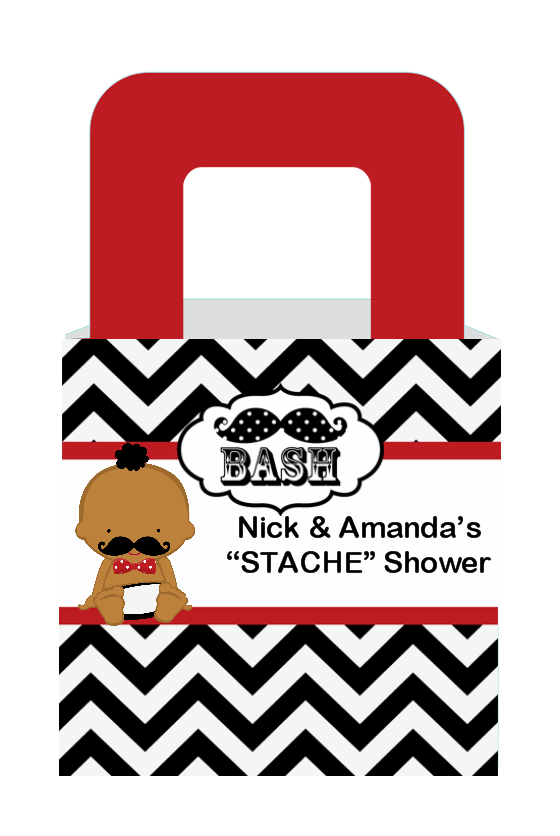 Little Man Mustache Black/Grey - Personalized Baby Shower Favor Boxes