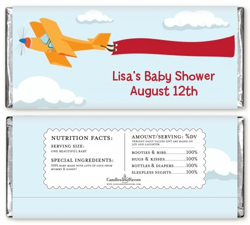 Airplane in the Clouds Baby Shower Candy Bar Wrappers | Candles ...