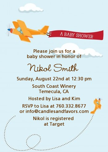 airplane in the clouds baby shower invitations | candles and favors, Baby shower invitations