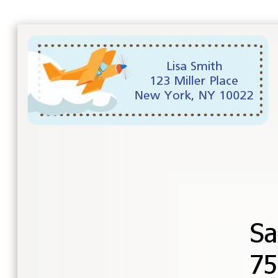 Airplane in the Clouds - Baby Shower Return Address Labels
