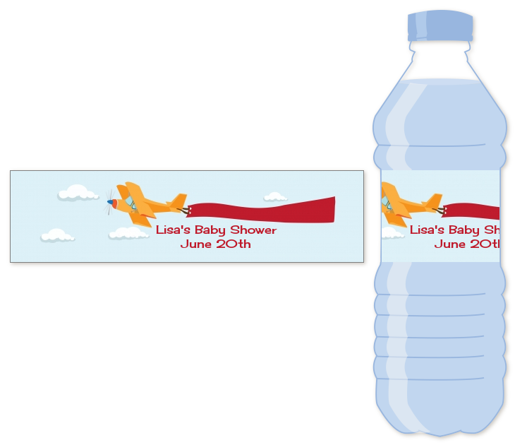 Airplane In The Clouds Water Bottle Label