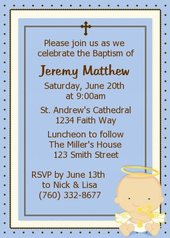 Angel Boy Christening Invitation Baptism Invitations for Boy