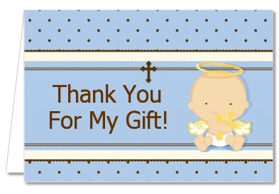 Angel Baby Boy Caucasian - Baptism / Christening Thank You Cards