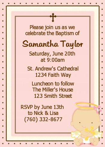 Angel Baby Girl Caucasian Baptism Christening Invitations