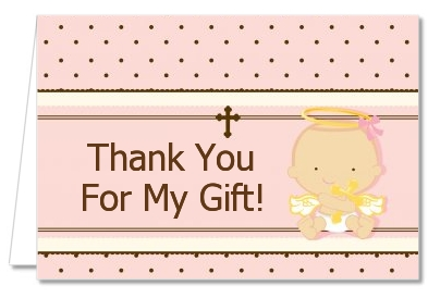 Angel Baby Girl Caucasian - Baptism / Christening Thank You Cards