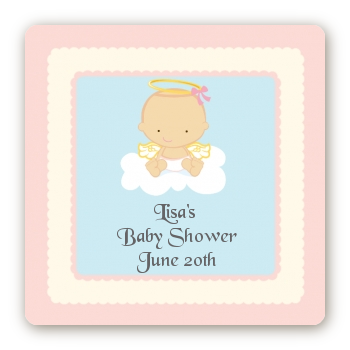 angel in the cloud girl square baby shower sticker labels