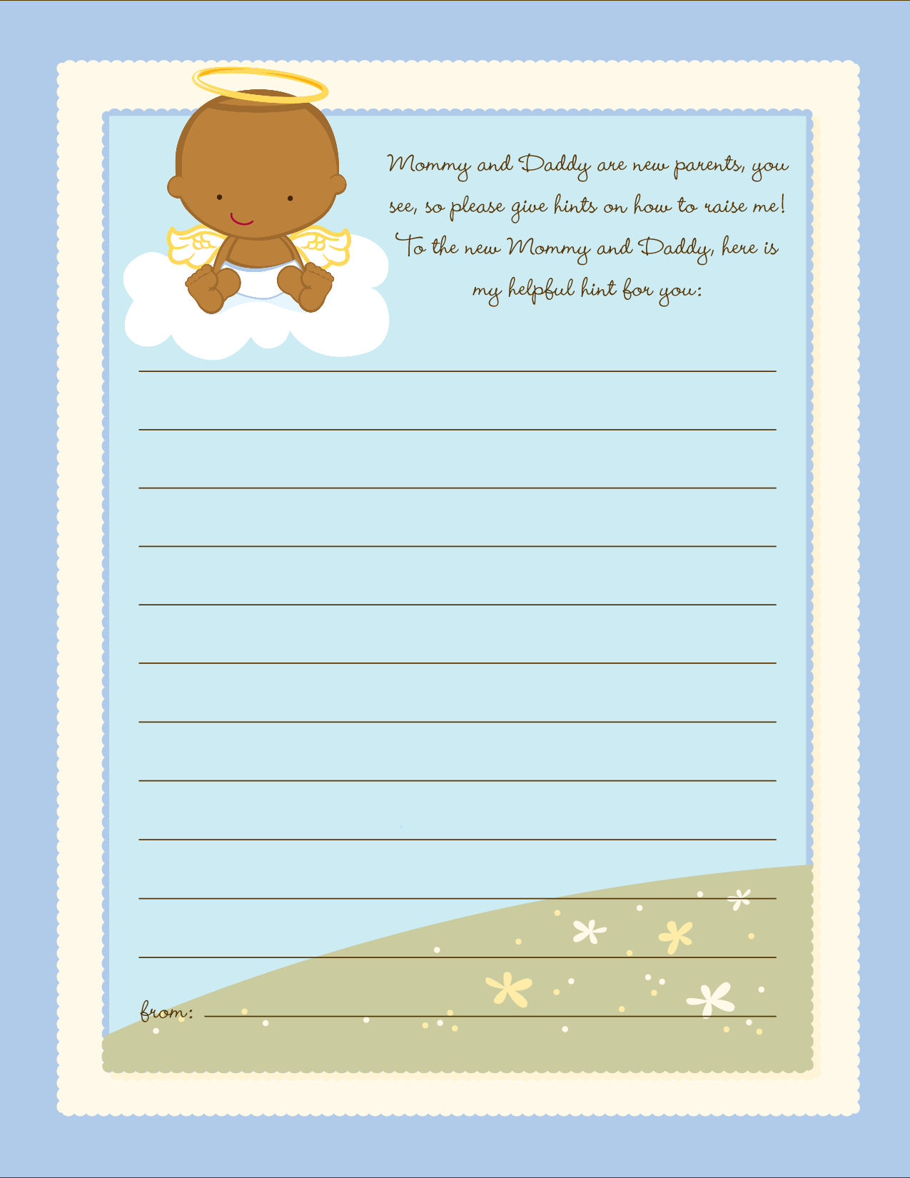 Angel in the Cloud Boy - Baby Shower Notes of Advice Caucasian