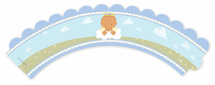 Angel in the Cloud Boy - Baby Shower Cupcake Wrappers Caucasian