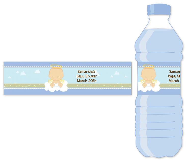 Angel In The Cloud Boy Personalized Baby Shower Water Bottle Labels