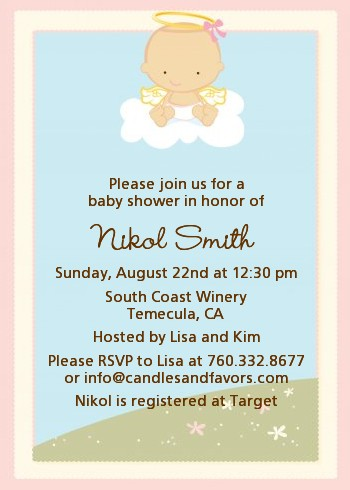Angel in the Cloud Girl Baby Shower Invitations Candles and Favors