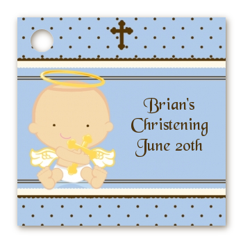 Angel Baby Boy Caucasian - Personalized Baptism / Christening Card Stock Favor Tags