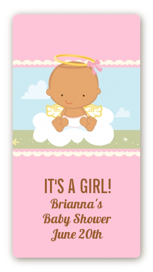 Angel in the Cloud Girl - Custom Rectangle Baby Shower Sticker/Labels Caucasian
