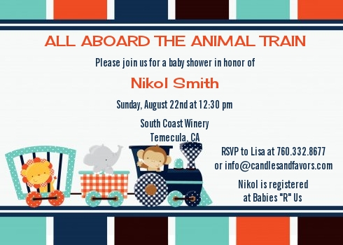 Animal train baby shower invitations candles and favors animal train baby shower invitations filmwisefo