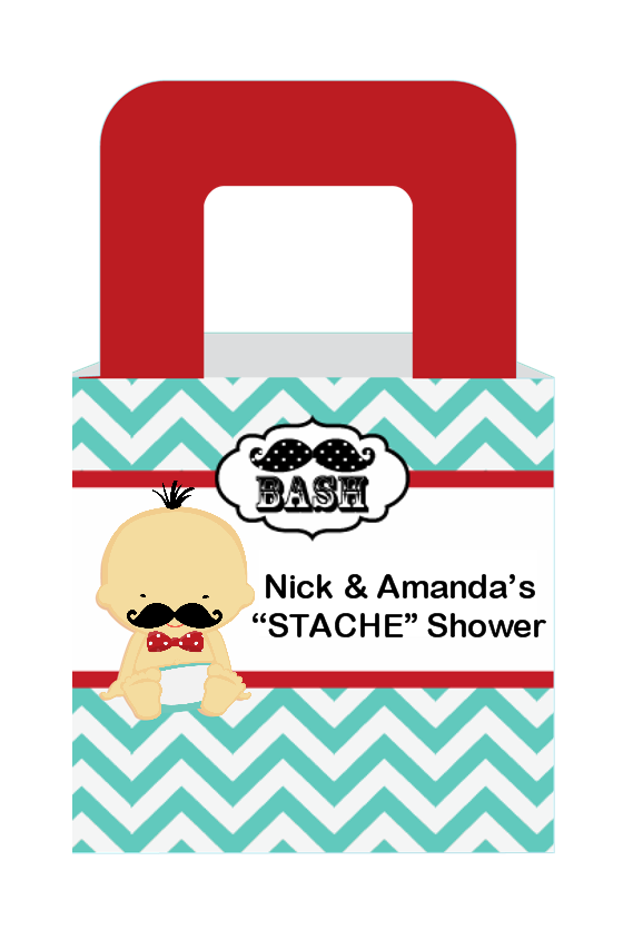Little Man Mustache - Personalized Baby Shower Favor Boxes Caucasian