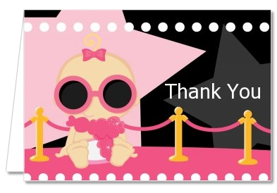 A Star Is Born Hollywood Black|Pink - Baby Shower Thank You Cards Blonde Hair