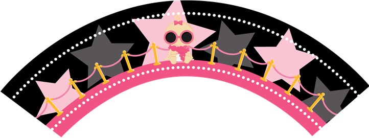 A Star Is Born Hollywood Black|Pink - Baby Shower Cupcake Wrappers Blonde Hair
