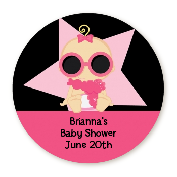 a star is born hollywood blackpink round baby shower sticker labels blonde