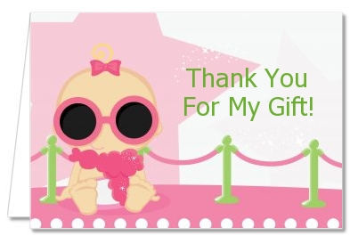 A Star Is Born Hollywood White|Pink - Baby Shower Thank You Cards Caucasian