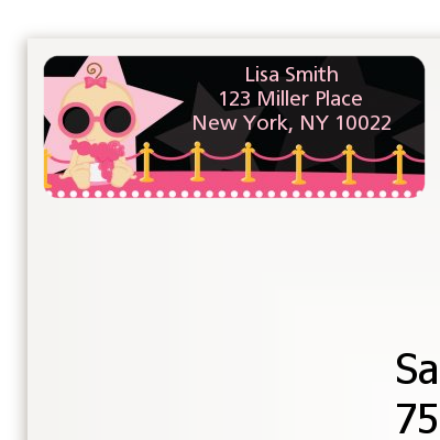 A Star Is Born Hollywood Black|Pink - Baby Shower Return Address Labels Caucasian Girl