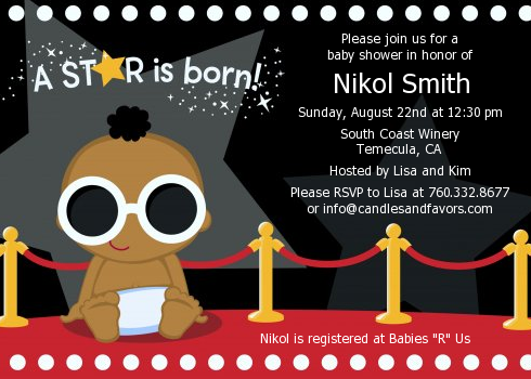A Star Is Born Hollywood - Baby Shower Invitations Caucasian Girl