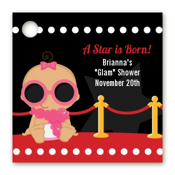 A Star Is Born Hollywood - Personalized Baby Shower Card Stock Favor Tags Caucasian Girl
