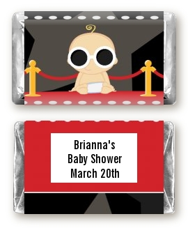 A Star Is Born Hollywood - Personalized Baby Shower Mini Candy Bar Wrappers Caucasian Girl