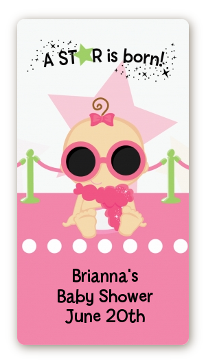 A Star Is Born Hollywood White|Pink - Custom Rectangle Baby Shower Sticker/Labels Caucasian Girl